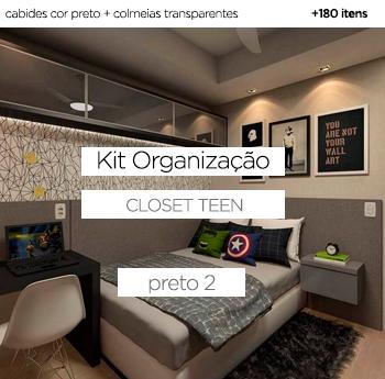 Kit Organização Closet Teen - Preto 2