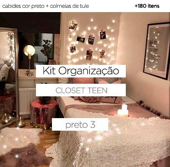 Kit Organização Closet Teen - Preto 3