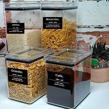Kit Potes herméticos + Adesivos essenciais para cozinha Preto