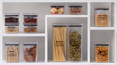 Kit Potes herméticos + Adesivos essenciais para cozinha Transparente