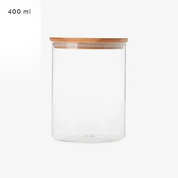 Pote de vidro com tampa de bambu - 400 ml - hermético - não passa ar