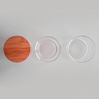 Potes de vidro com 3 andares e tampa de bambu 1200 ml - hermético - não passa ar