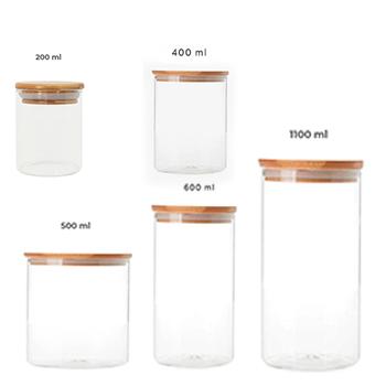 Potes de vidro com tampa de bambu - Kit com 5 unidades