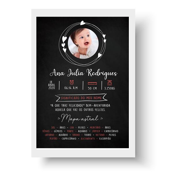 Quadro Baby - Ana Julia Chalkboard efeito lousa - Personalizado