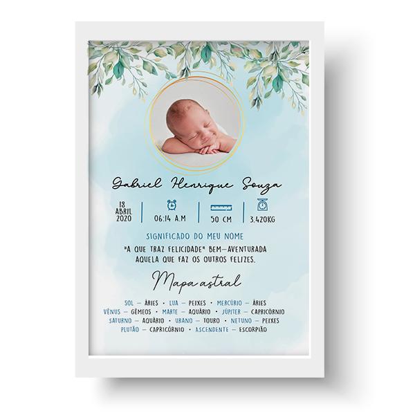 Quadro Baby - Gabriel Personalizado