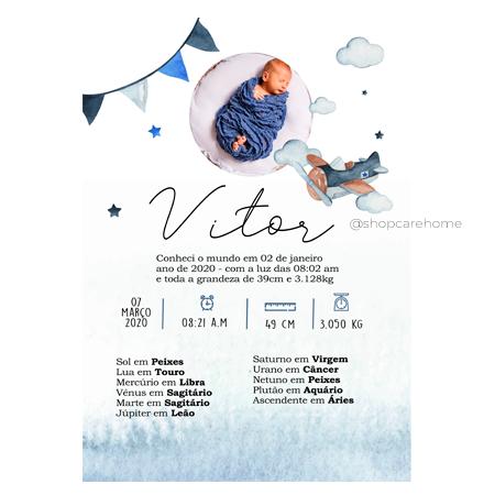 Quadro Baby - Vitor - Personalizado