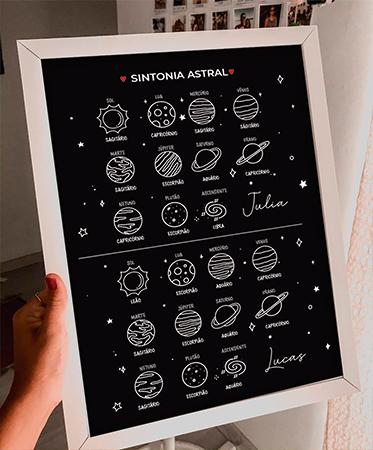 Quadro Mapa Astral - Sintonia - Personalizado