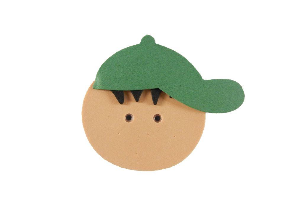 Carinha EVA Menino Bolinha Boné Verde