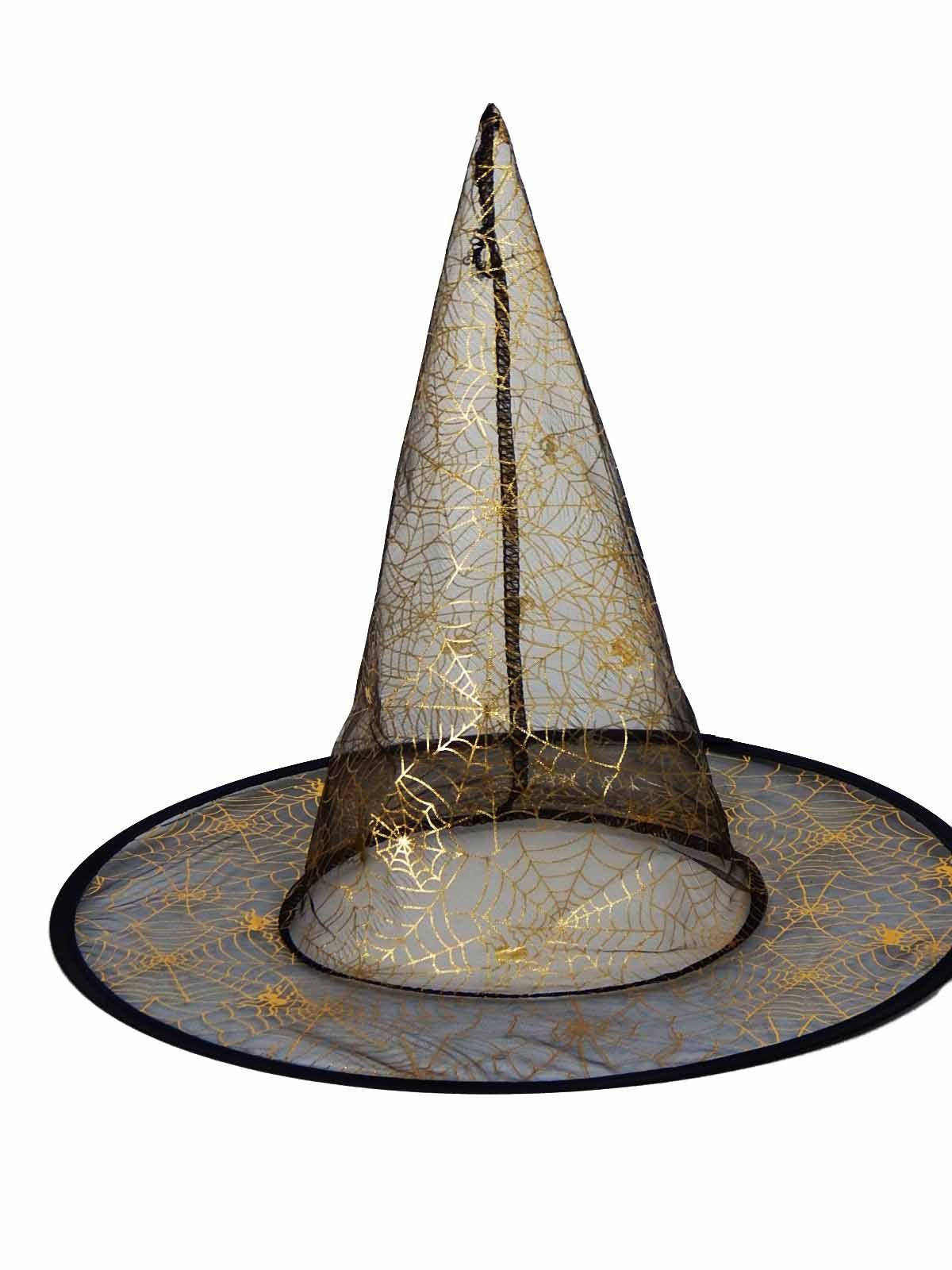 Chapéu de Bruxa Tule Preto com Dourado