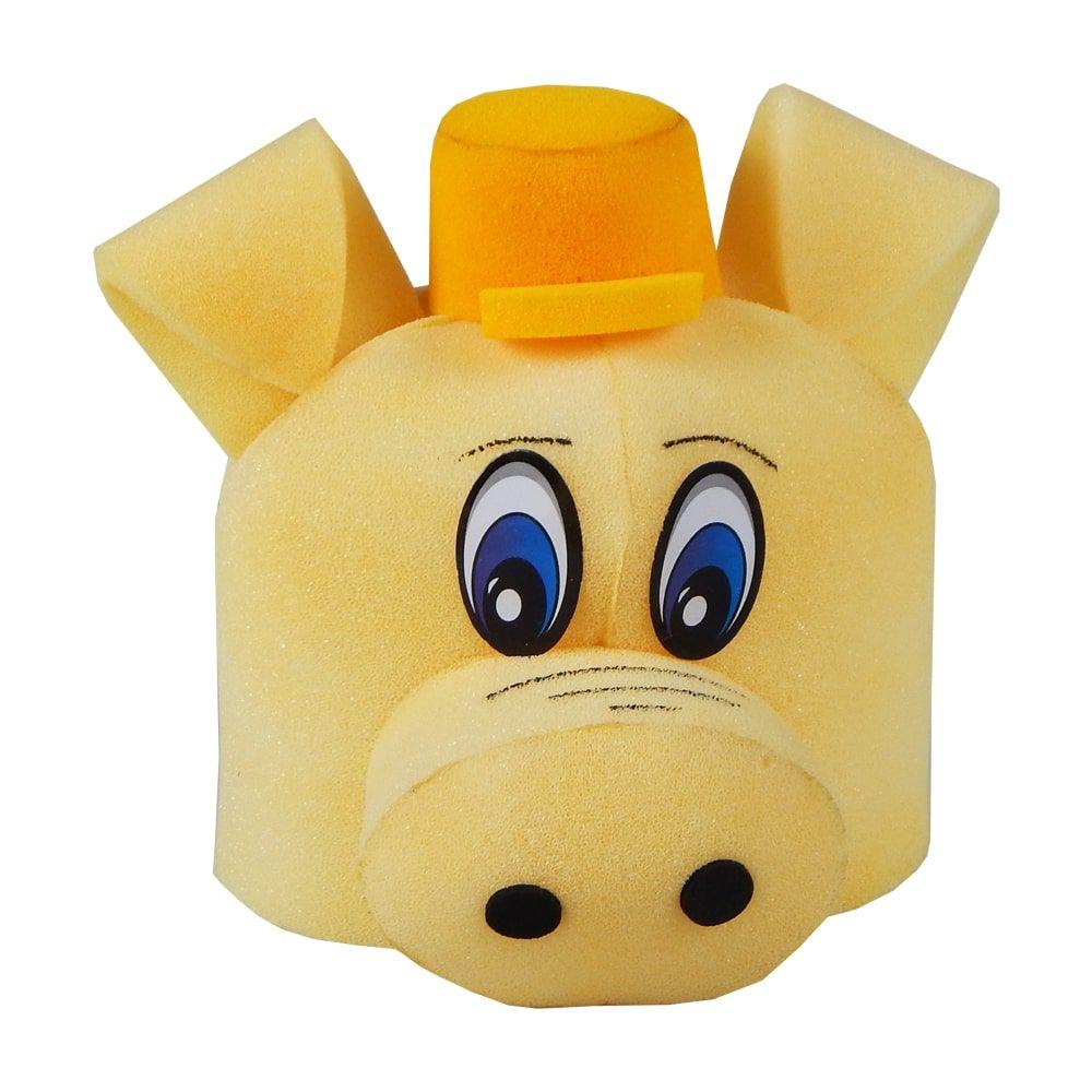 Chapéu Espuma Porquinho Cícero Boné Amarelo