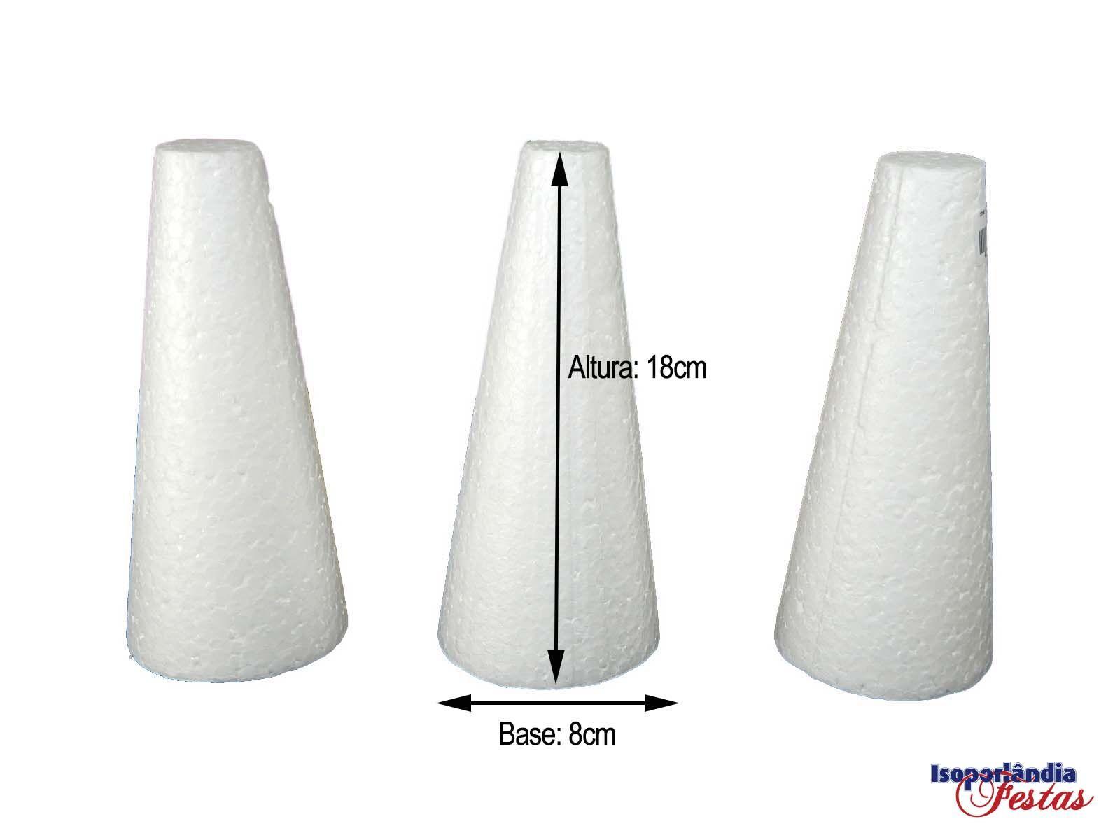 Cone em Isopor 18cm altura x 8cm base