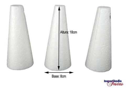 Cone Em Isopor 18x8cm - Pacote com 100 Unidades
