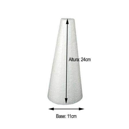 Cone em Isopor 24cm altura x 11cm base