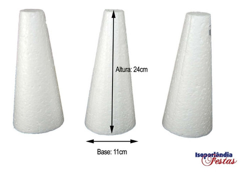 Cone Em Isopor 24x11cm Pacote com 05 Unidades