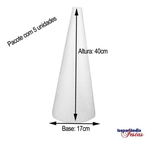 Cone Em Isopor 40x17cm 10 Unidades