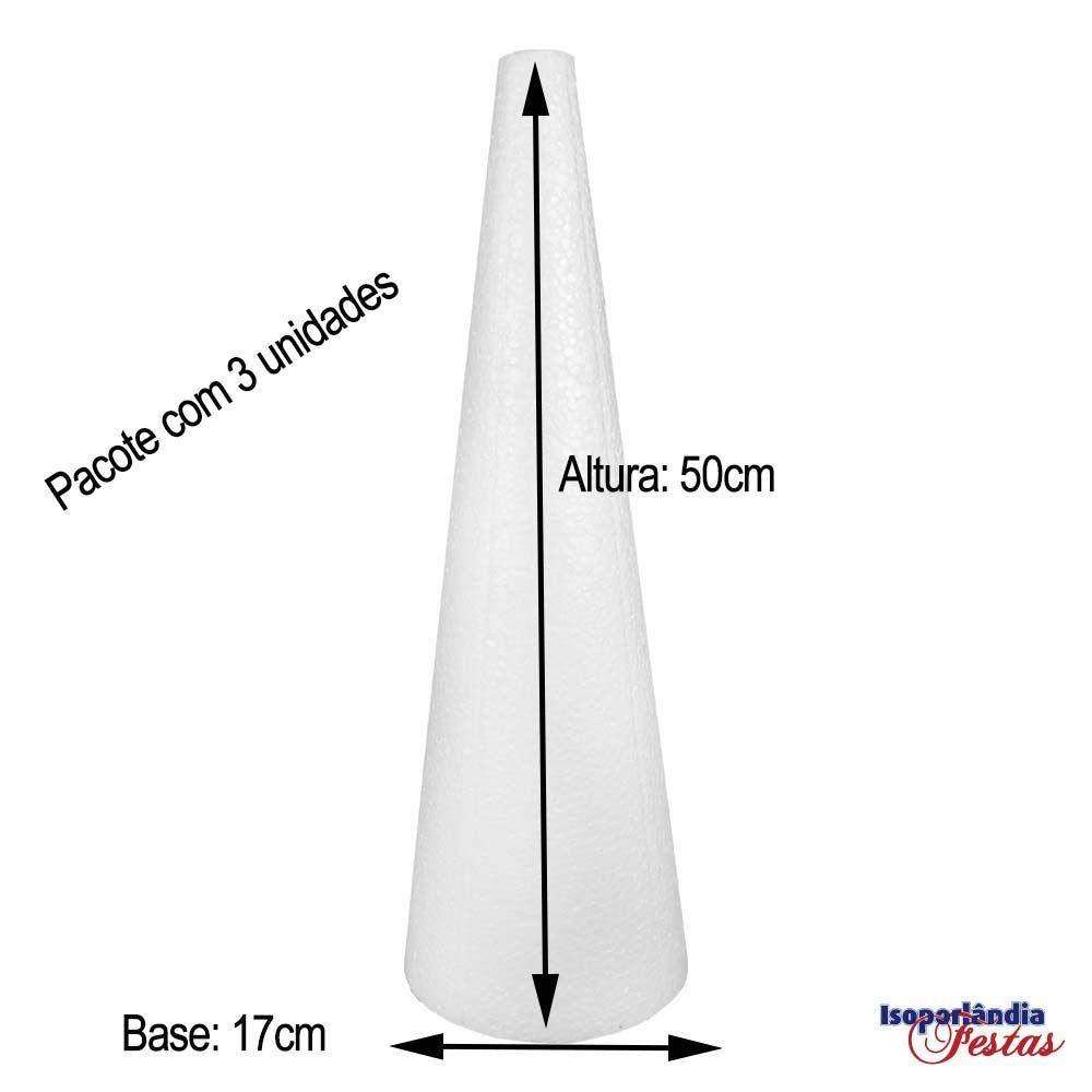 Cone em Isopor 50cm altura x 17cm base