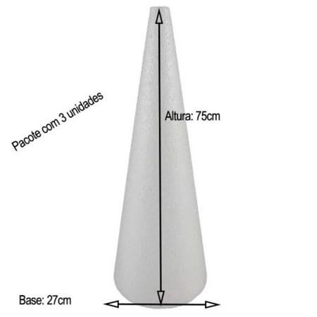 Cone em Isopor 75cm altura x 27cm base