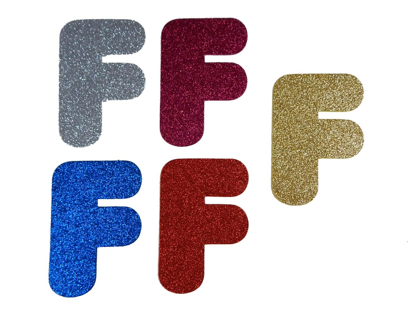 Letra Eva F 12cm Glitter