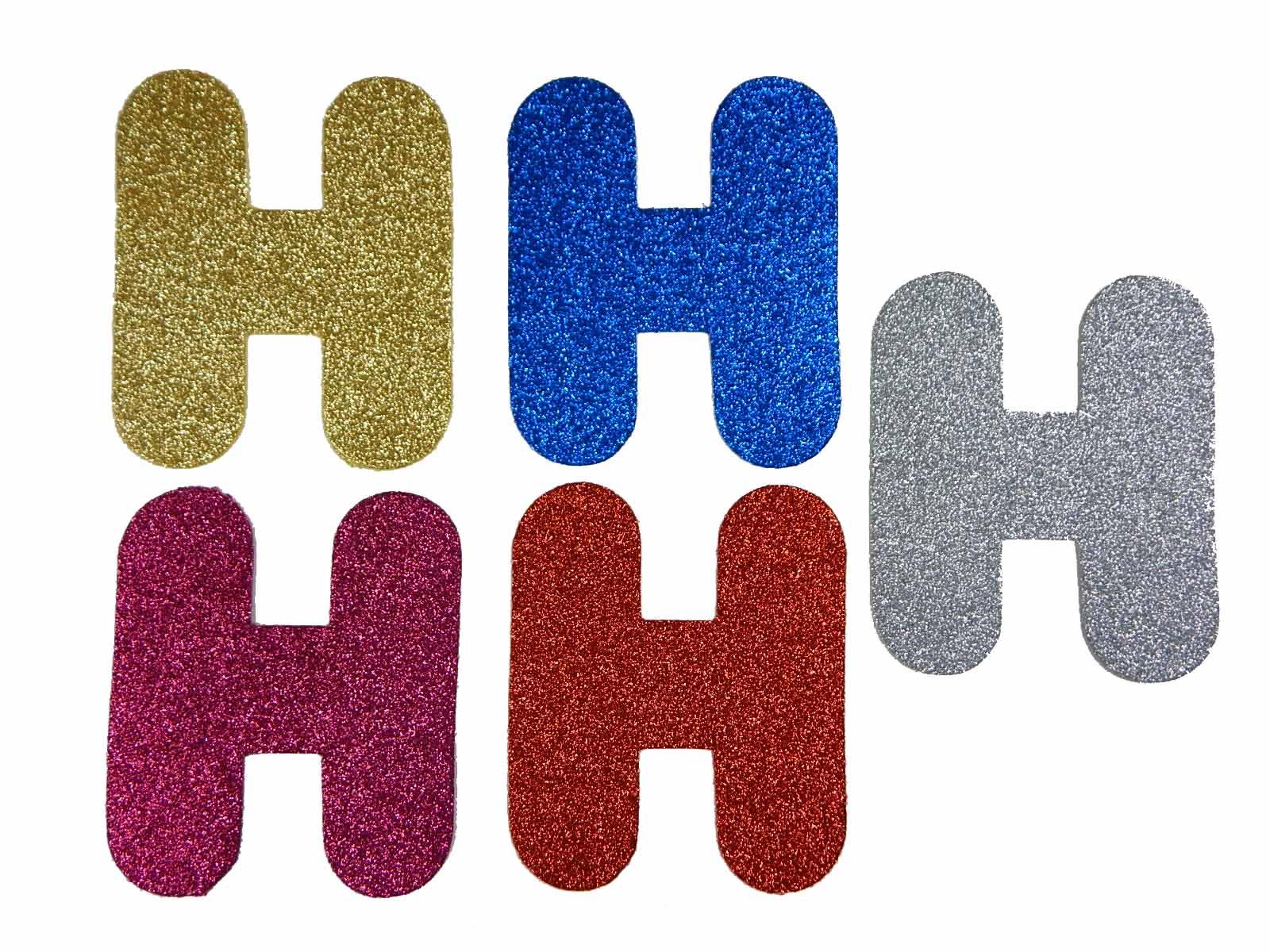 Letra Eva H 12cm Glitter