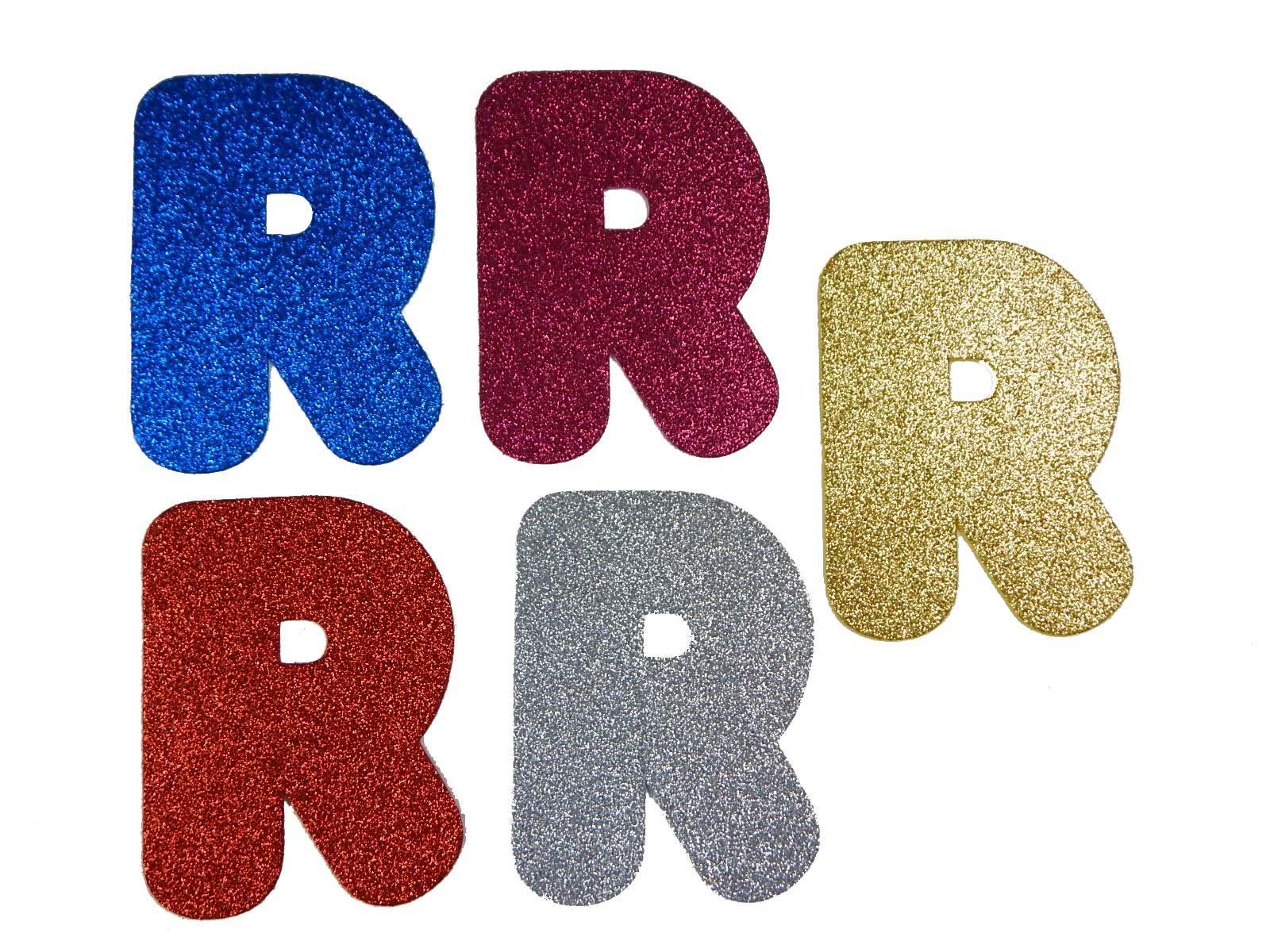 Letra Eva R 12cm Glitter