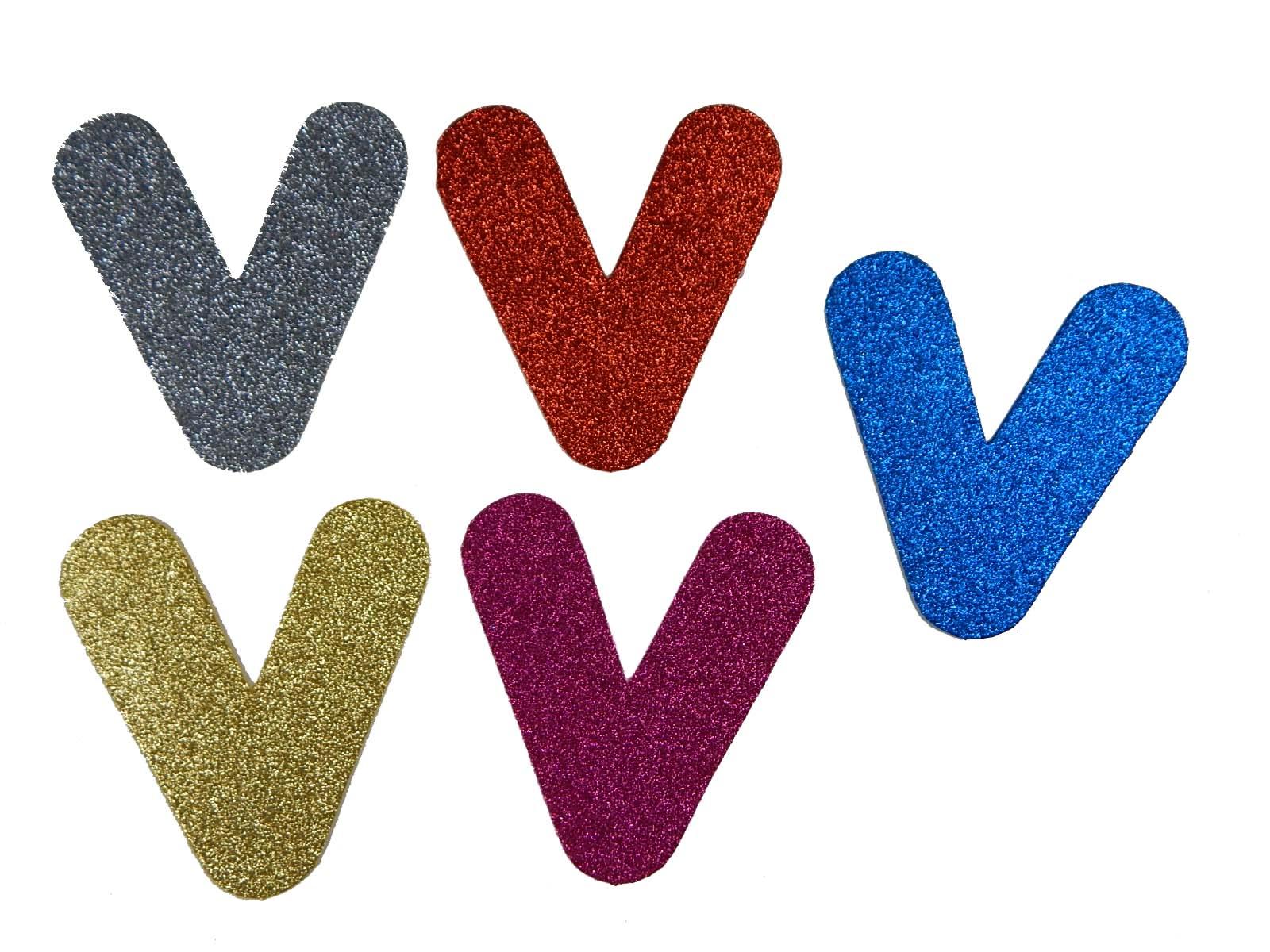 Letra Eva V 12cm Glitter