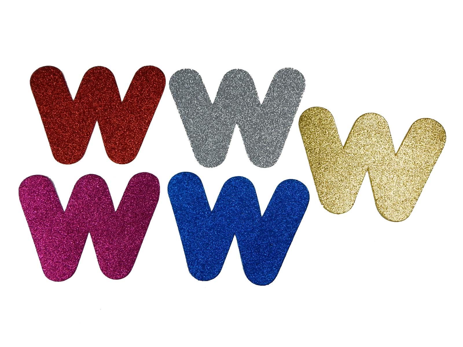Letra Eva W 12cm Glitter