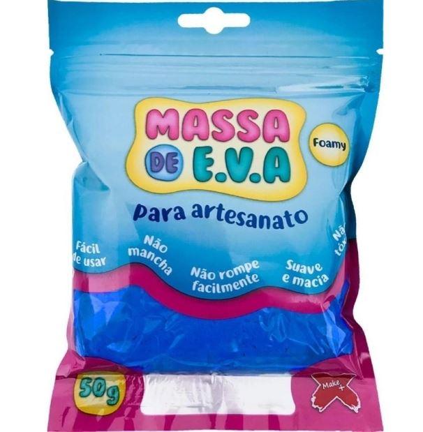 Massa de Eva Para Artesanato -  Azul Claro -  50 Gramas - Make