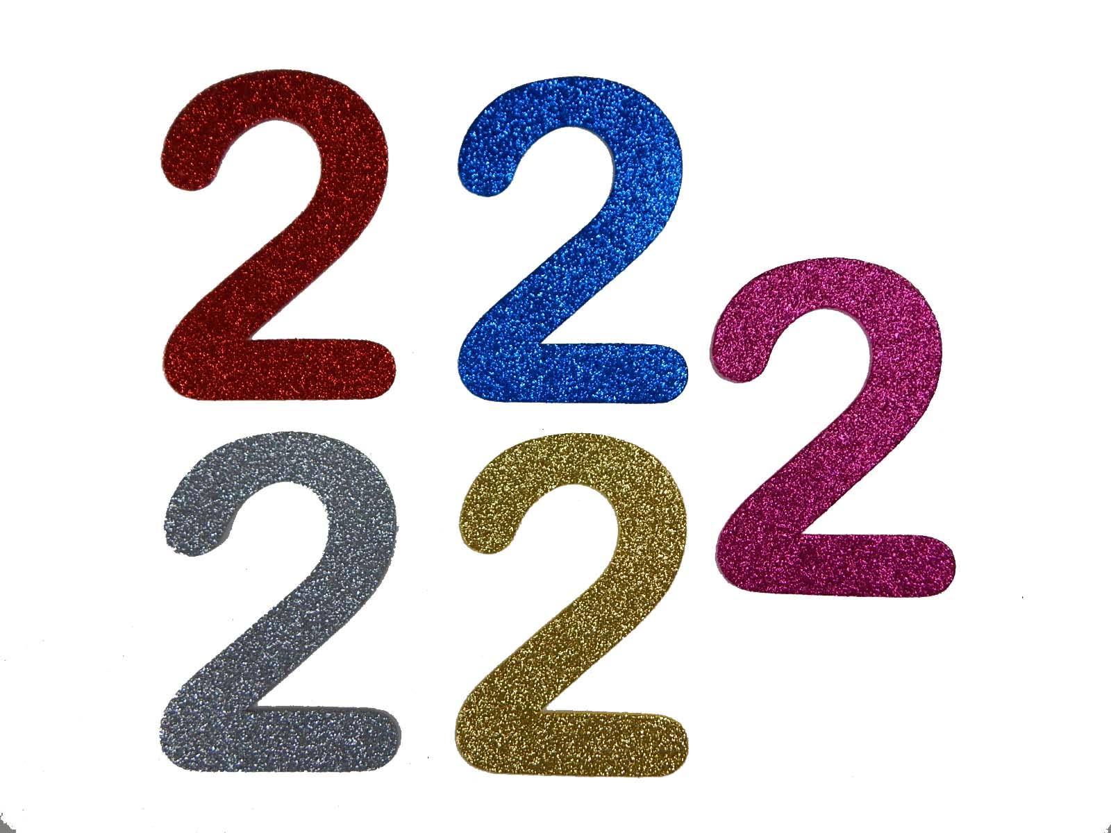 Numero em Eva 2 12cm Glitter