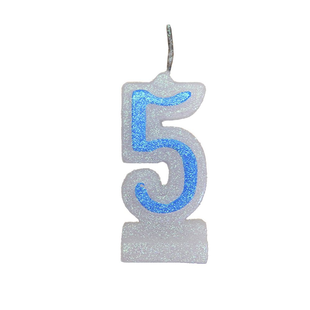 Vela de Aniversário Azul Nº 5