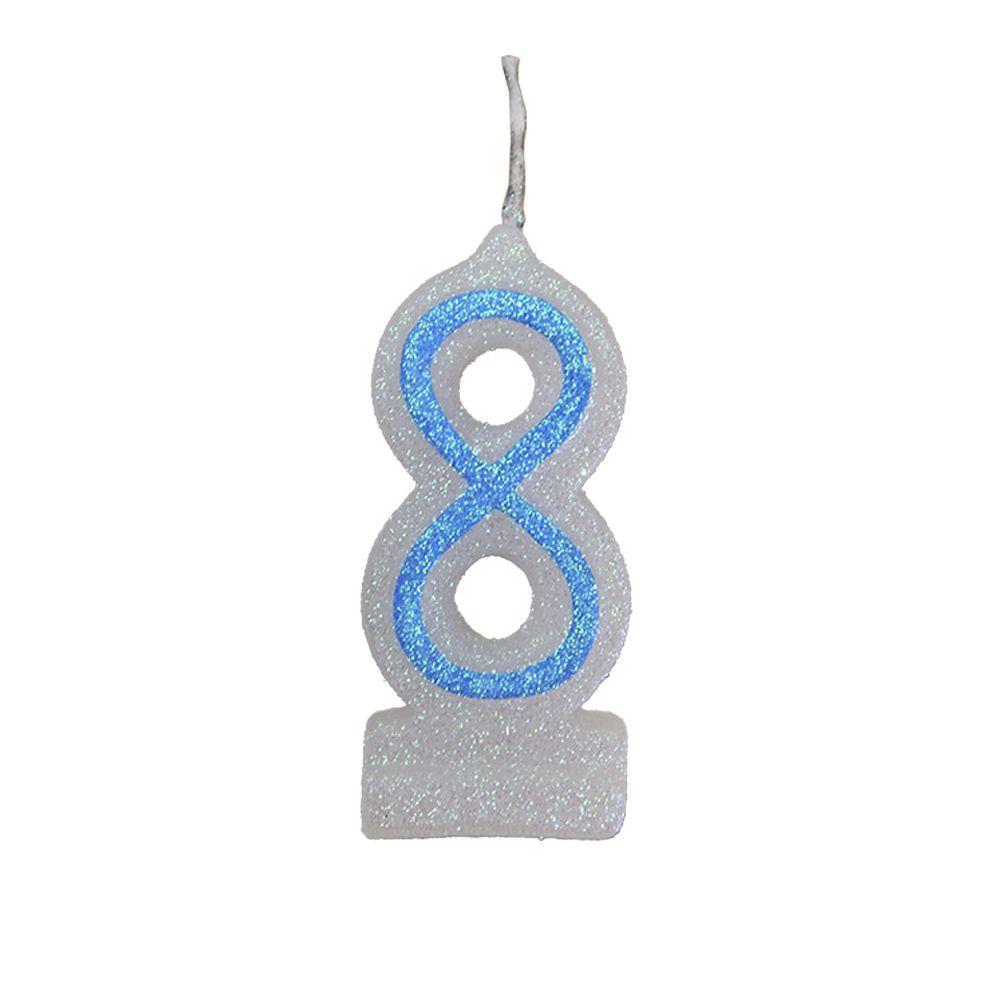 Vela de Aniversário Azul Nº 8
