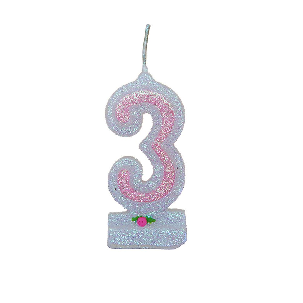 Vela de Aniversário Rosa Nº 3