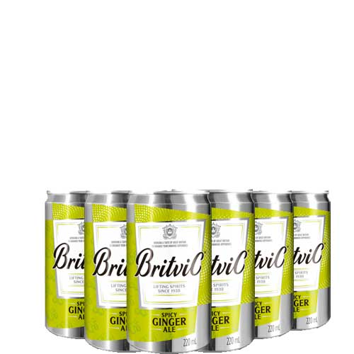 Água Tônica Britvic Indian Ginger Ale contendo 6 latas 220ml cada