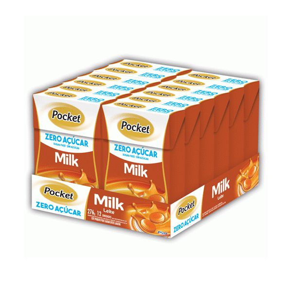 Bala Pocket Milk Leche Zero Açúcar Riclan Contendo 12 Caixinhas De 23g Cada