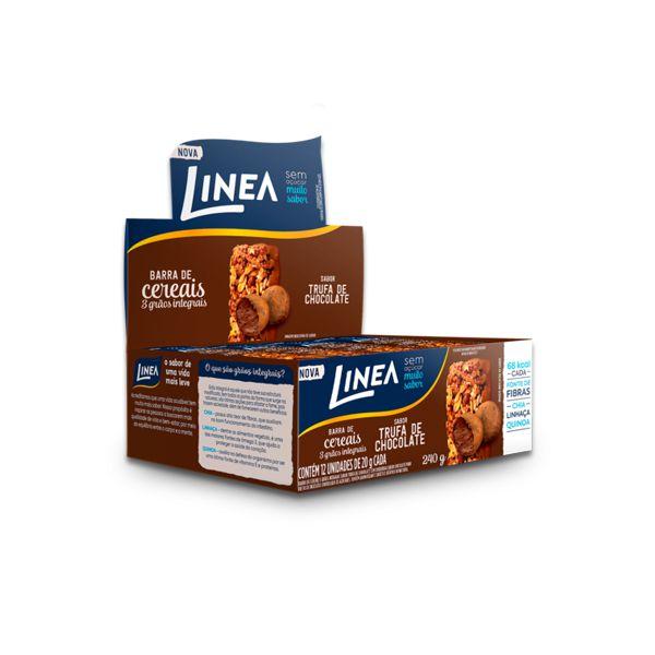 Barra de Cereal Sem Açúcar Trufa de Chocolate Linea contendo 12 unidades