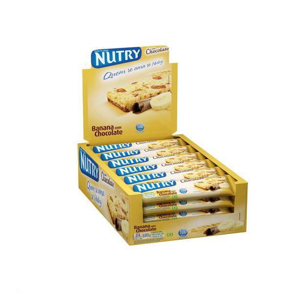 Barra De Cereal Nutry Banana com Chocolate contendo 24 unidades