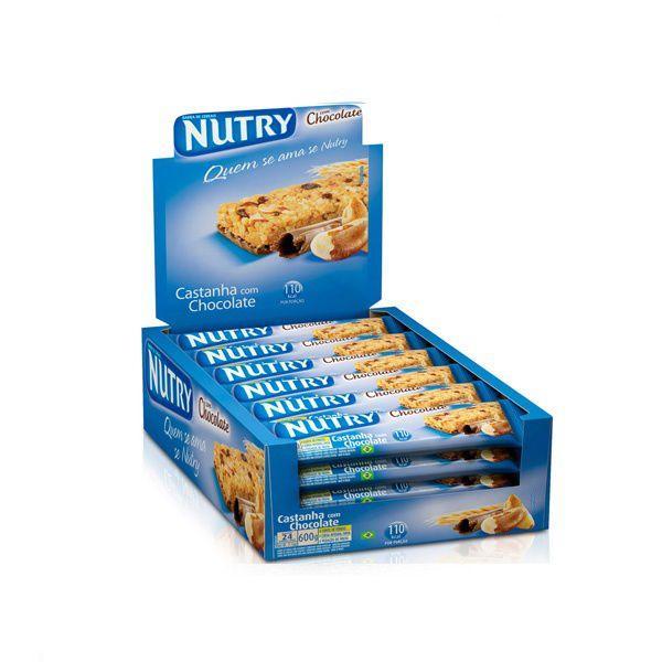 Barra De Cereal Nutry Castanha com Chocolate contendo 24 unidades