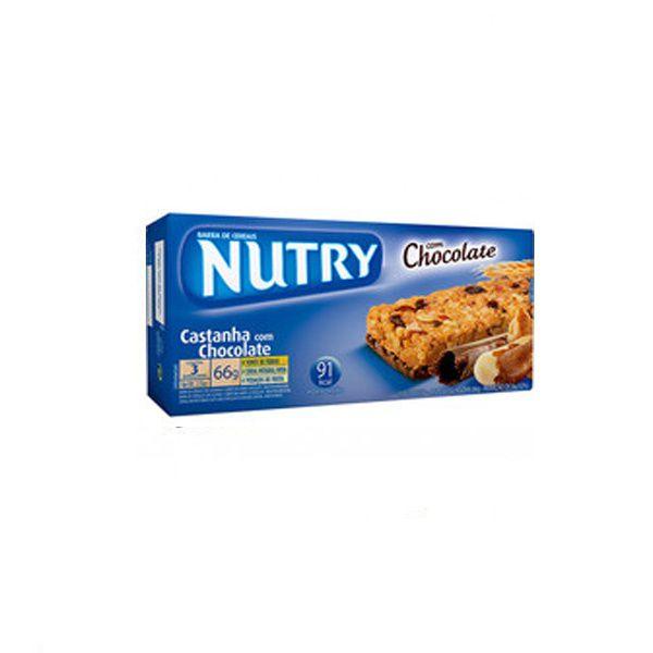Barra De Cereal Nutry Castanha com Chocolate contendo 3 unidades