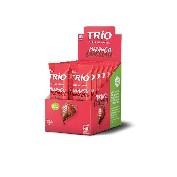Barra De Cereal Trío Morango com Chocolate contendo 12 unidades