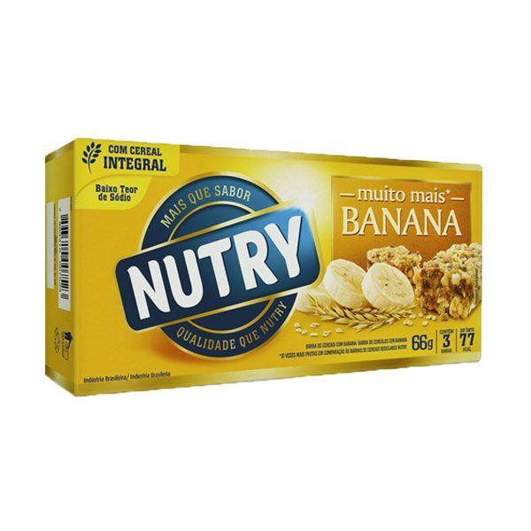 Barra De Cereal Nutry de Banana com 3 Unidades