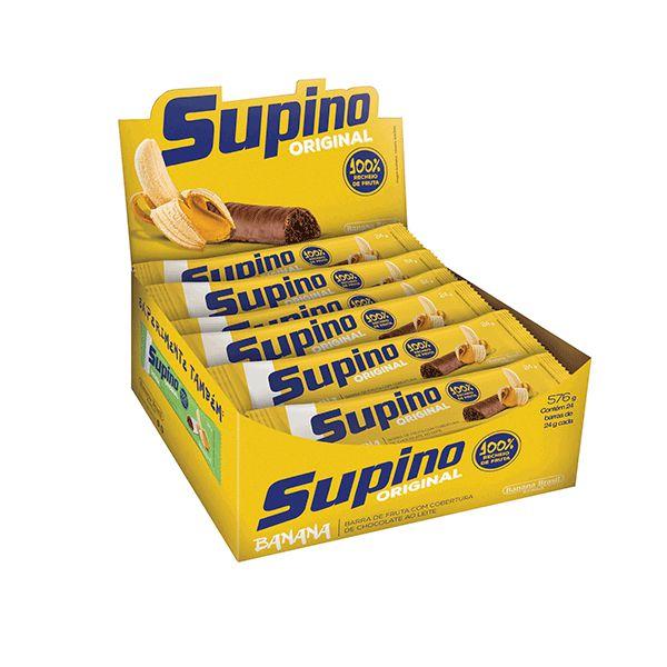 Barra De Frutas Supino Banana Coberto com Chocolate Ao Leite Tradicional com 16 Unidades De 24g Cada
