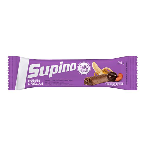 Barra De Frutas Sem Açúcar Banana E Ameixa com Chocolate ao leite Supino UNIDADE