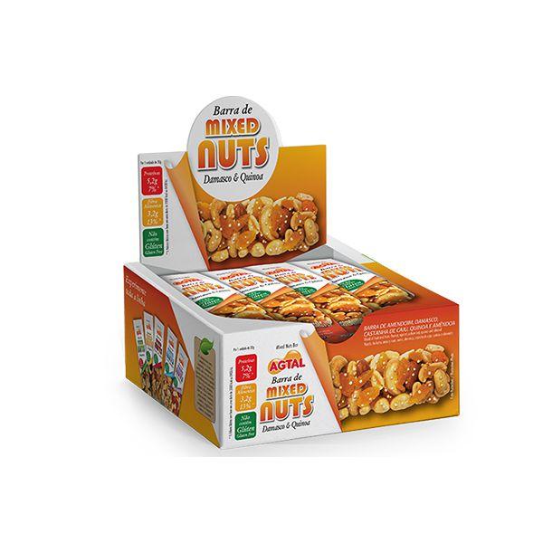 Barra De Mixed Nuts Damasco E Quinoa Agtal Contendo 12 Unidades De 30g Cada