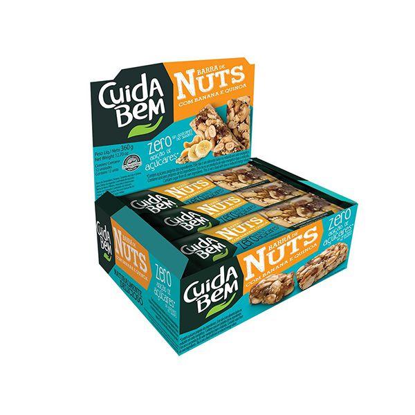 Barra de Nuts Cuida Bem Banana E Quinoa contendo 12 unidades de 25g - VÁLIDO ATÉ 14/11/2020