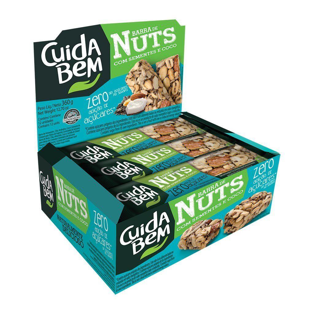 Barra de Nuts Sementes e Coco Cuida Bem 12 un