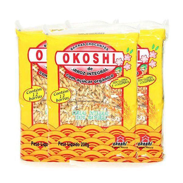 Barras Crocantes Arroz Integral Com Açúcar Orgânico Zero Glúten Okoshi Contém 3 Pacotes De 200g Cada