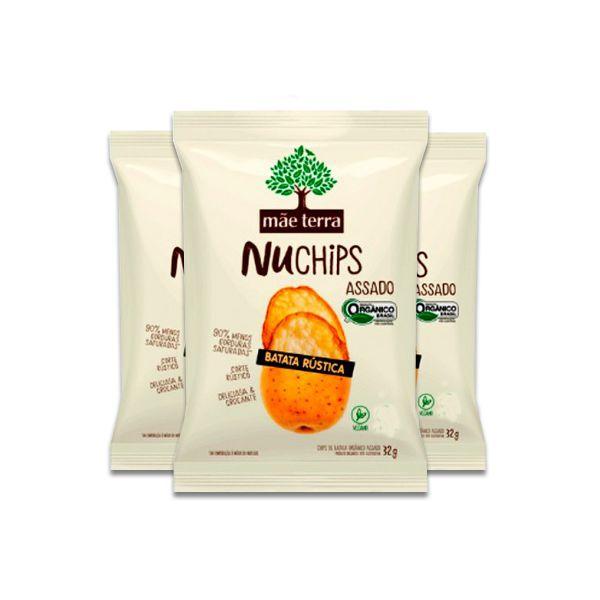 Batata Rústica NuChips Vegano, Orgânico Mãe Terra contendo 3 pacotes de 32g cada