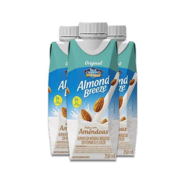 Bebida Vegetal de Amêndoas Original Almond Breeze contendo 3 unidades de 250ml cada