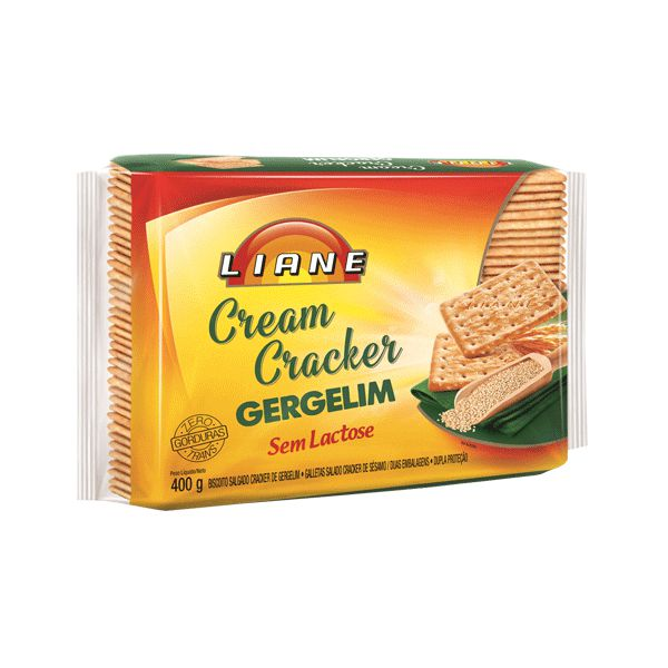 Biscoito Cream Cracker Gergelim Sem Lactose Liane 400g