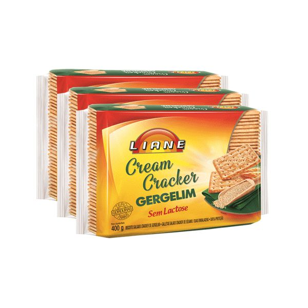 Biscoito Cream Cracker Gergelim Sem Lactose Liane Contendo 3 Pacotes De 400g Cada