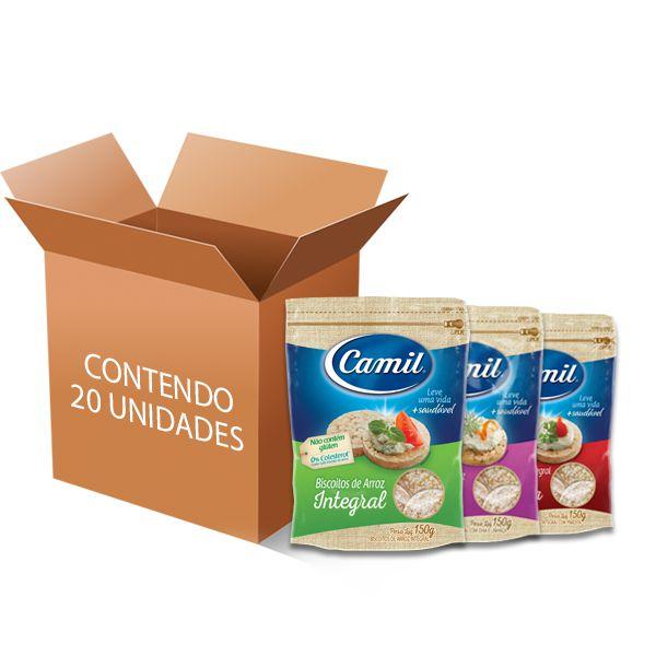 Biscoito De Arroz Integral Camil Sortido contendo 20 unidades de 150g